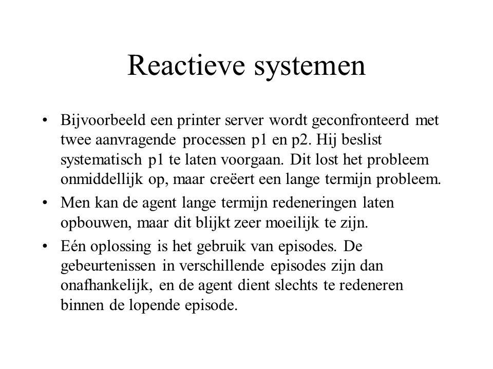 Reactieve systemen Bijvoorbeeld een printer server wordt geconfronteerd met twee aanvragende processen p1 en p2.