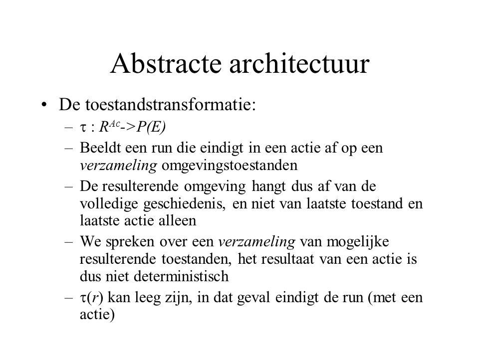 Abstracte architectuur De toestandstransformatie: –  : R Ac ->P(E) –Beeldt een run die eindigt in een actie af op een verzameling omgevingstoestanden –De resulterende omgeving hangt dus af van de volledige geschiedenis, en niet van laatste toestand en laatste actie alleen –We spreken over een verzameling van mogelijke resulterende toestanden, het resultaat van een actie is dus niet deterministisch –  (r) kan leeg zijn, in dat geval eindigt de run (met een actie)