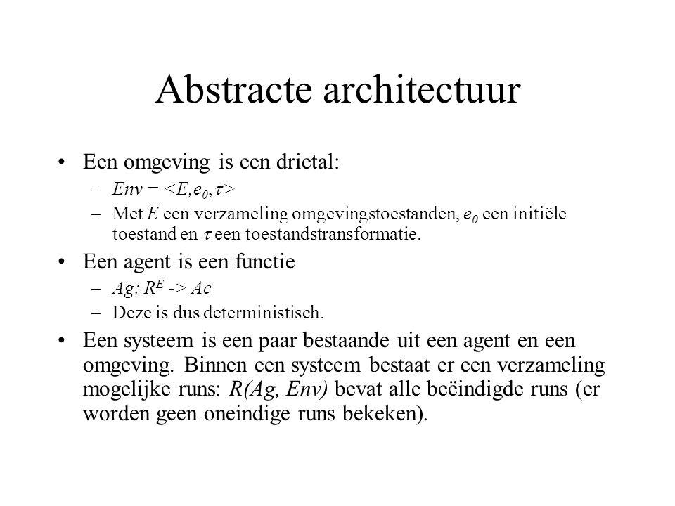 Abstracte architectuur Een omgeving is een drietal: –Env = –Met E een verzameling omgevingstoestanden, e 0 een initiële toestand en  een toestandstransformatie.