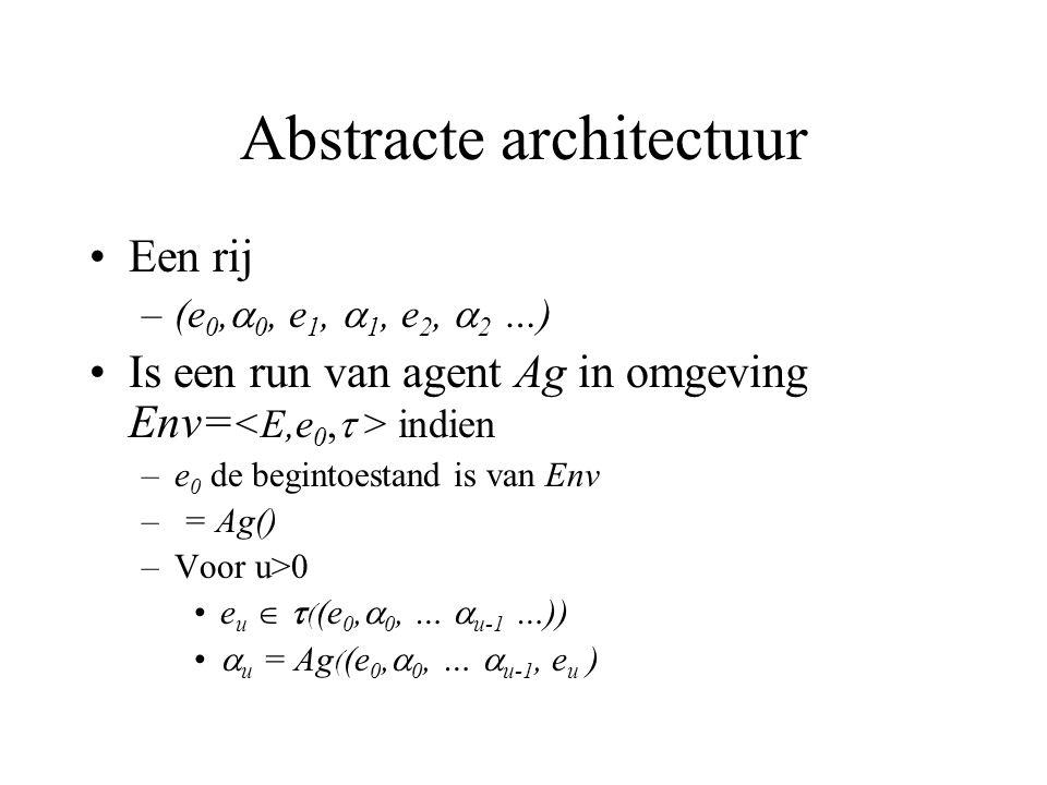 Abstracte architectuur Een rij –(e 0,  0, e 1,  1, e 2,  2 …) Is een run van agent Ag in omgeving Env= indien –e 0 de begintoestand is van Env – = Ag() –Voor u>0 e u   ( (e 0,  0, …  u-1 …))  u = Ag ( (e 0,  0, …  u-1, e u )