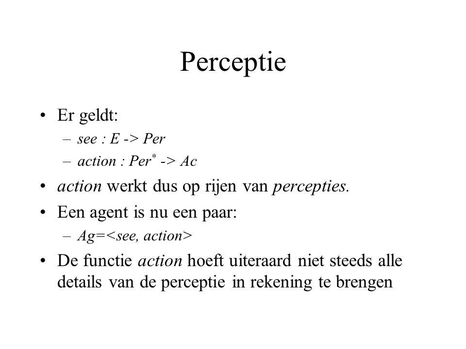 Perceptie Er geldt: –see : E -> Per –action : Per * -> Ac action werkt dus op rijen van percepties.