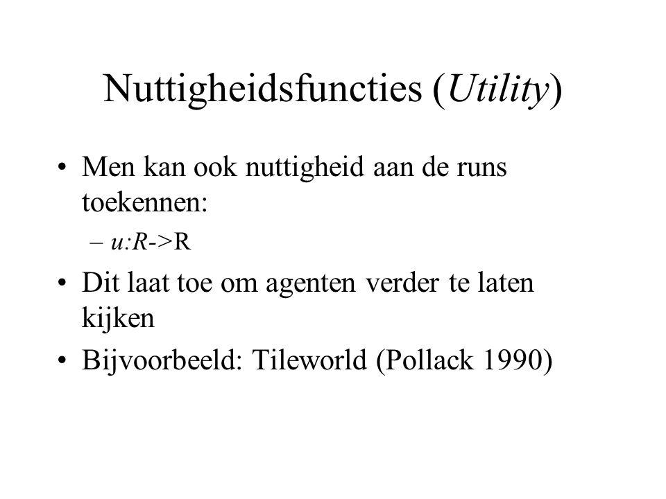 Nuttigheidsfuncties (Utility) Men kan ook nuttigheid aan de runs toekennen: –u:R->R Dit laat toe om agenten verder te laten kijken Bijvoorbeeld: Tileworld (Pollack 1990)