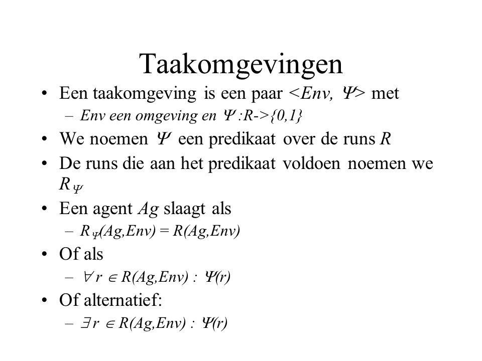Taakomgevingen Een taakomgeving is een paar met –Env een omgeving en  :R->{0,1} We noemen  een predikaat over de runs R De runs die aan het predikaat voldoen noemen we R  Een agent Ag slaagt als –R  (Ag,Env) = R(Ag,Env) Of als –  r  R(Ag,Env) :  (r) Of alternatief: –  r  R(Ag,Env) :  (r)