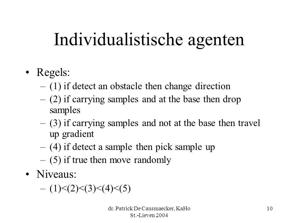 dr. Patrick De Causmaecker, KaHo St.-Lieven 2004 10 Individualistische agenten Regels: –(1) if detect an obstacle then change direction –(2) if carryi