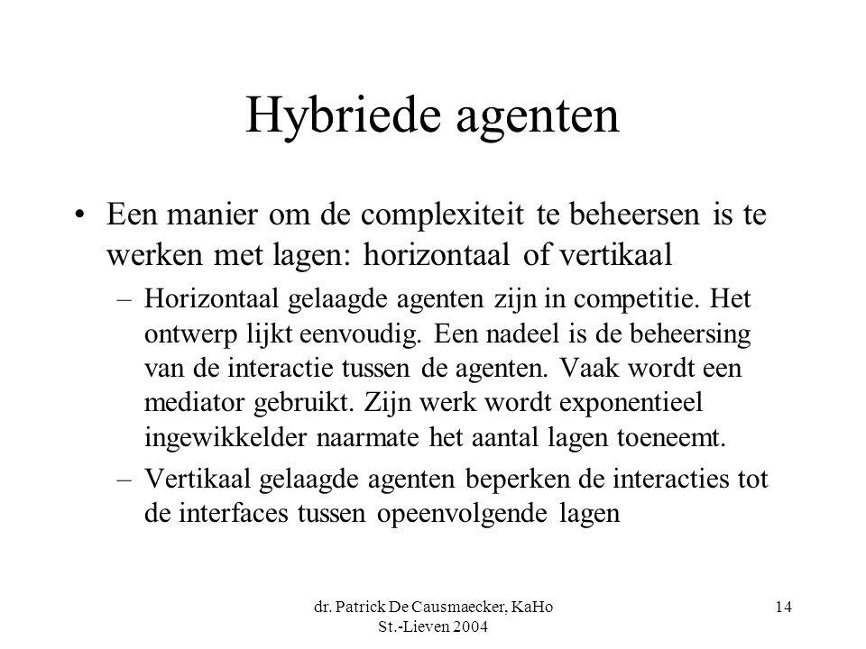 dr. Patrick De Causmaecker, KaHo St.-Lieven 2004 14 Hybriede agenten Een manier om de complexiteit te beheersen is te werken met lagen: horizontaal of