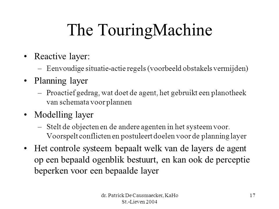 dr. Patrick De Causmaecker, KaHo St.-Lieven 2004 17 The TouringMachine Reactive layer: –Eenvoudige situatie-actie regels (voorbeeld obstakels vermijde
