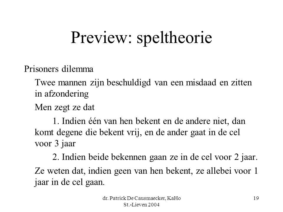 dr. Patrick De Causmaecker, KaHo St.-Lieven 2004 19 Preview: speltheorie Prisoners dilemma Twee mannen zijn beschuldigd van een misdaad en zitten in a
