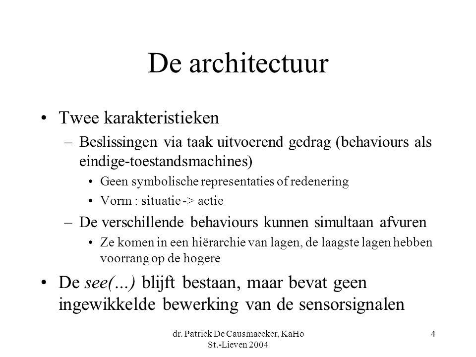 dr. Patrick De Causmaecker, KaHo St.-Lieven 2004 4 De architectuur Twee karakteristieken –Beslissingen via taak uitvoerend gedrag (behaviours als eind