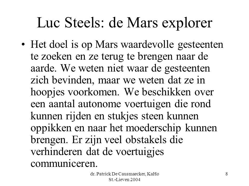 8 Luc Steels: de Mars explorer Het doel is op Mars waardevolle gesteenten te zoeken en ze terug te brengen naar de aarde. We weten niet waar de gestee