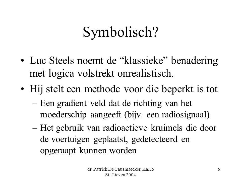 """dr. Patrick De Causmaecker, KaHo St.-Lieven 2004 9 Symbolisch? Luc Steels noemt de """"klassieke"""" benadering met logica volstrekt onrealistisch. Hij stel"""