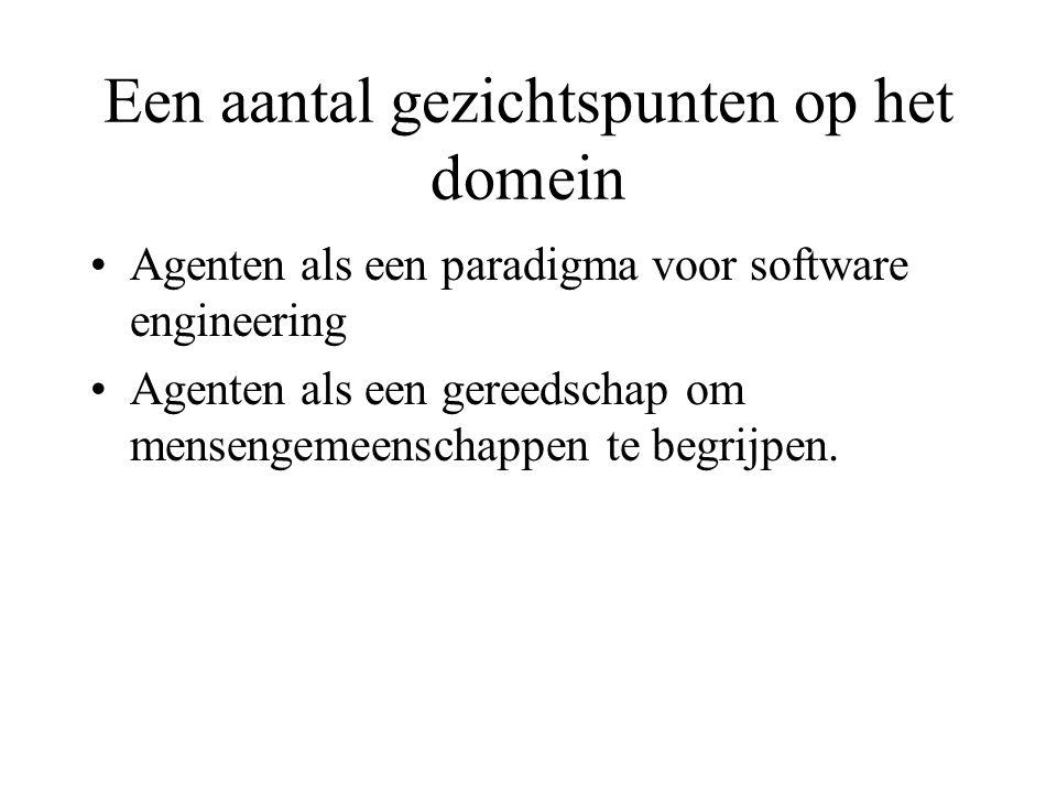 Een aantal gezichtspunten op het domein Agenten als een paradigma voor software engineering Agenten als een gereedschap om mensengemeenschappen te begrijpen.