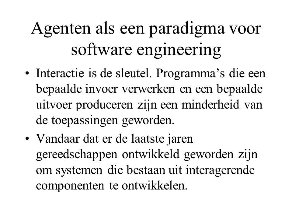 Agenten als een paradigma voor software engineering Interactie is de sleutel.