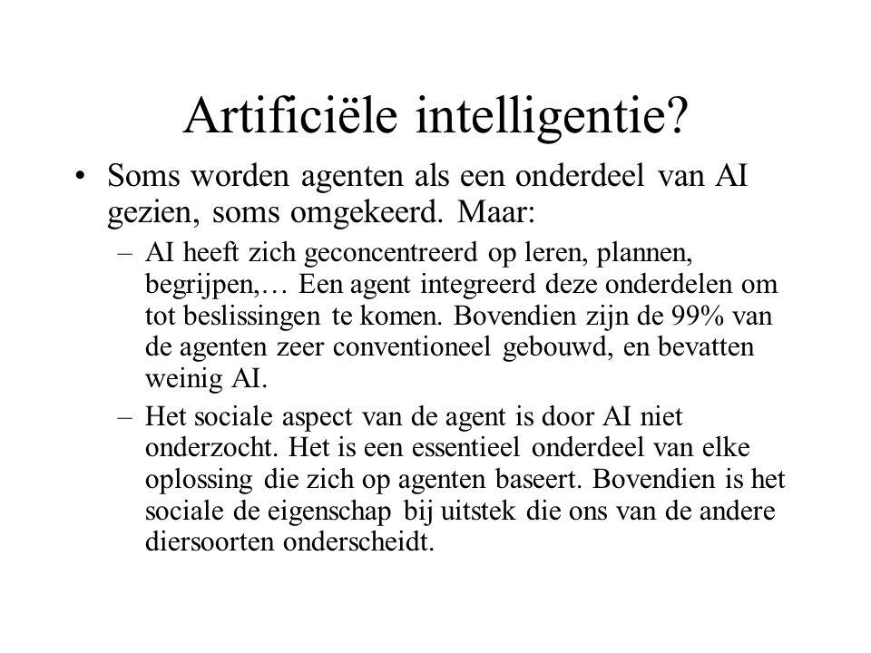 Artificiële intelligentie. Soms worden agenten als een onderdeel van AI gezien, soms omgekeerd.