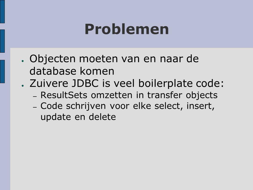 Problemen ● Objecten moeten van en naar de database komen ● Zuivere JDBC is veel boilerplate code: – ResultSets omzetten in transfer objects – Code schrijven voor elke select, insert, update en delete