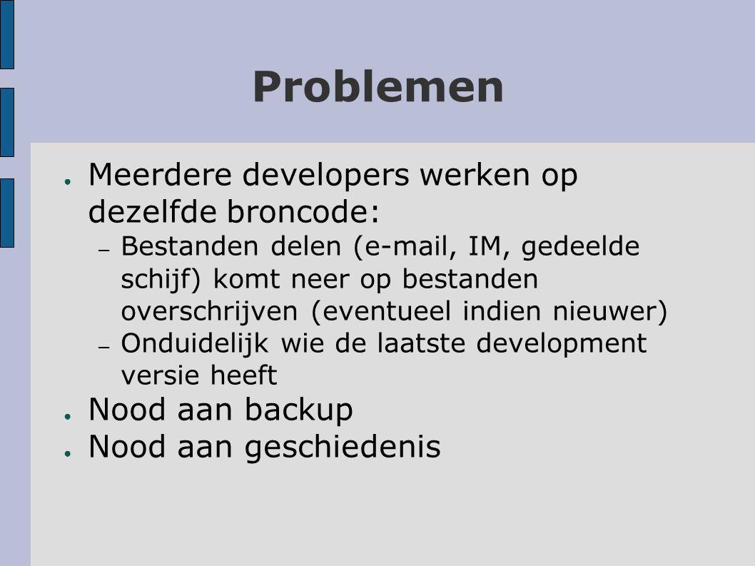 Oplossing ● Version control via Subversion (svn) ● Open source (gratis) ● Integratie met Eclipse, visual studio,...