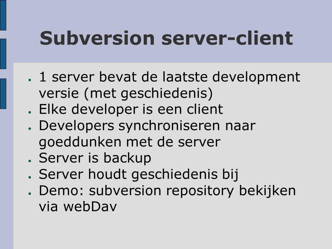 Support ● Subversion websitehttp://subversion.tigris.org/http://subversion.tigris.org/ – Bij links vind je een lijst van subversion clients voor emacs, Verkenner, MS Visual Studio,...