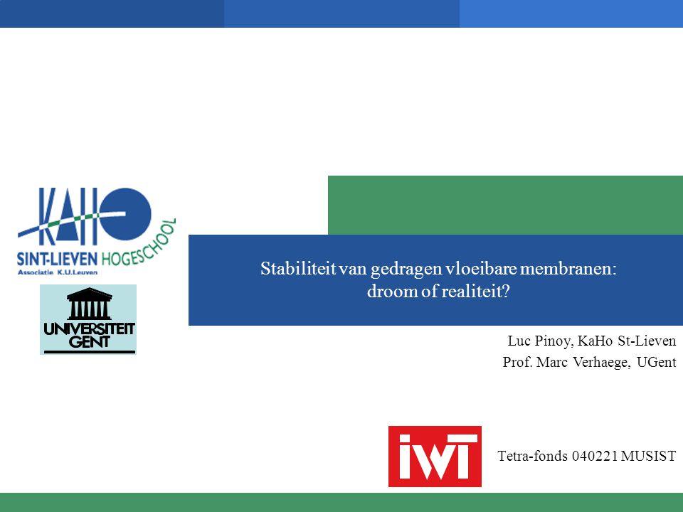 Stabiliteit van gedragen vloeibare membranen: droom of realiteit? Tetra-fonds 040221 MUSIST Luc Pinoy, KaHo St-Lieven Prof. Marc Verhaege, UGent