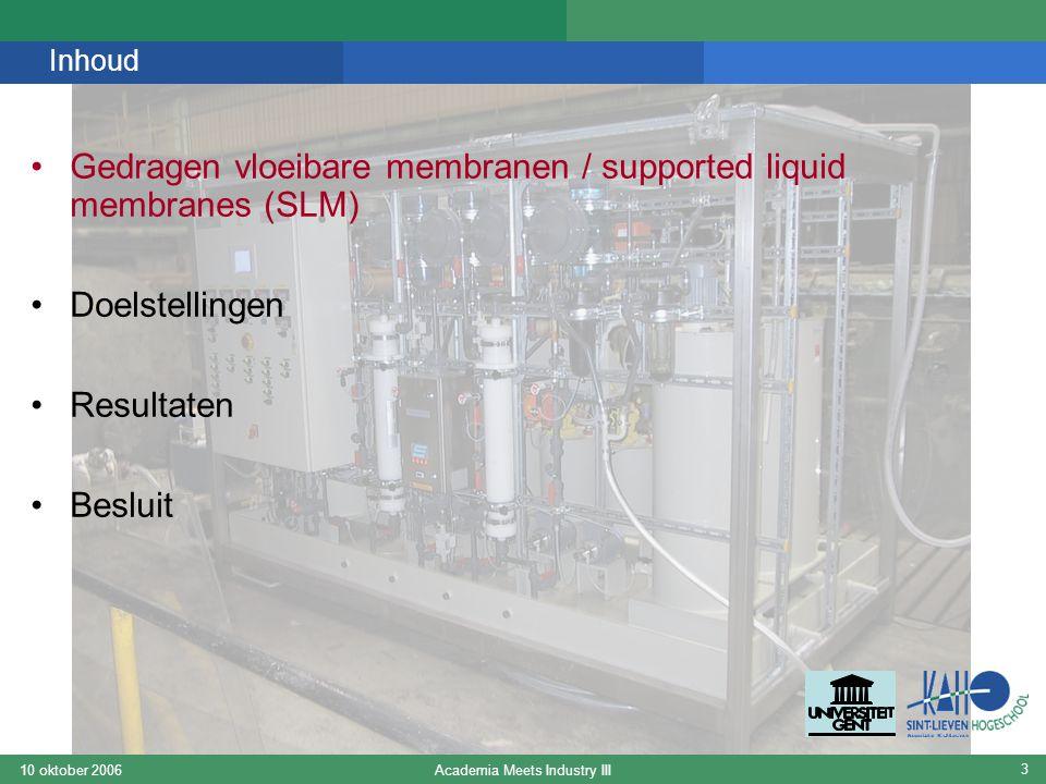 Academia Meets Industry III10 oktober 2006 4 Gedragen vloeibare membranen / Supported Liquid Membranes (SLM) Metaalion Proton Extractant afvalwaterstripmembraan Bron : www.liqui-cel.com