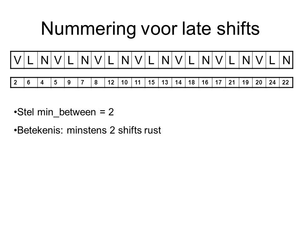 Nummering voor late shifts VLNVLNVLNVLNVLNVLNVLN 26459781210111513141816172119202422 Stel min_between = 2 Betekenis: minstens 2 shifts rust