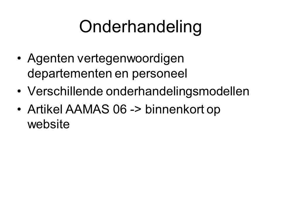 Onderhandeling Agenten vertegenwoordigen departementen en personeel Verschillende onderhandelingsmodellen Artikel AAMAS 06 -> binnenkort op website