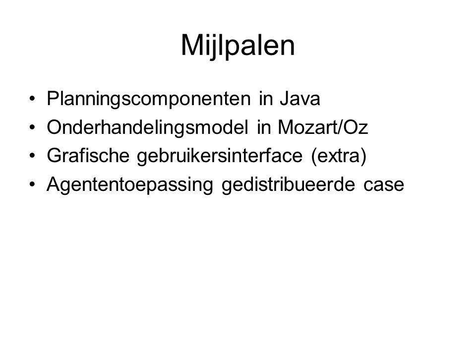 Mijlpalen Planningscomponenten in Java Onderhandelingsmodel in Mozart/Oz Grafische gebruikersinterface (extra) Agententoepassing gedistribueerde case