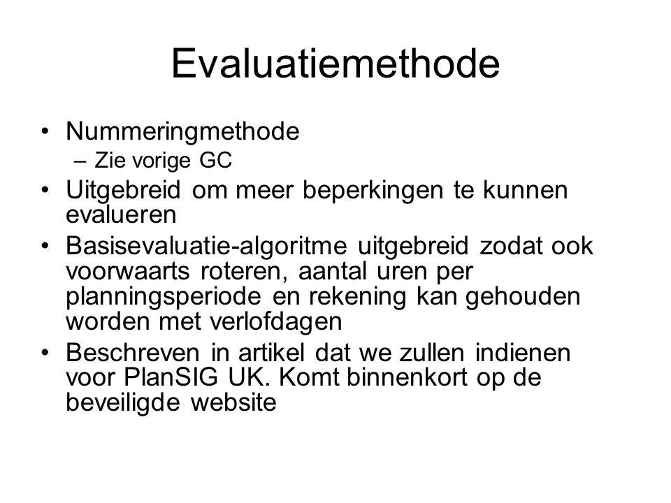 Evaluatiemethode Nummeringmethode –Zie vorige GC Uitgebreid om meer beperkingen te kunnen evalueren Basisevaluatie-algoritme uitgebreid zodat ook voorwaarts roteren, aantal uren per planningsperiode en rekening kan gehouden worden met verlofdagen Beschreven in artikel dat we zullen indienen voor PlanSIG UK.