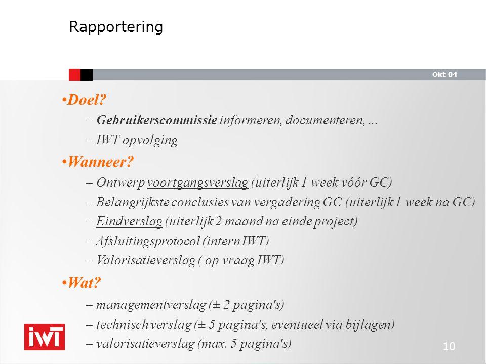 Okt 04 10 Doel. – Gebruikerscommissie informeren, documenteren,...