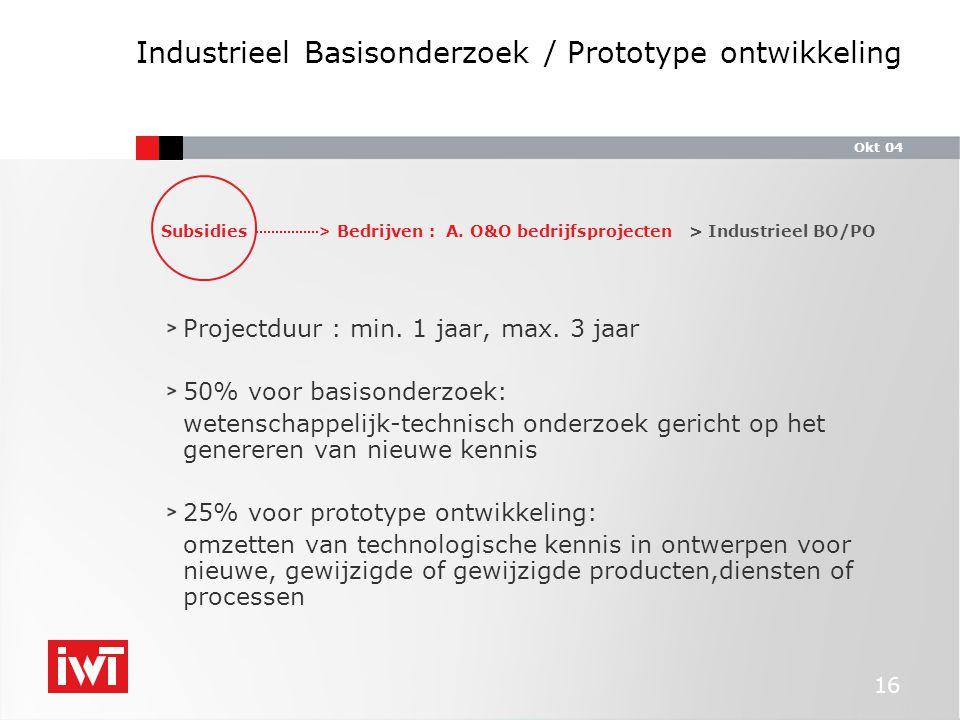 Okt 04 16 Industrieel Basisonderzoek / Prototype ontwikkeling Projectduur : min.