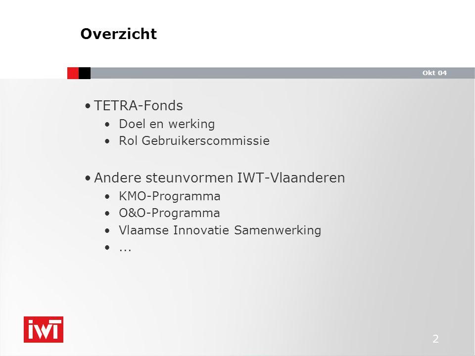 Okt 04 2 TETRA-Fonds Doel en werking Rol Gebruikerscommissie Andere steunvormen IWT-Vlaanderen KMO-Programma O&O-Programma Vlaamse Innovatie Samenwerking...