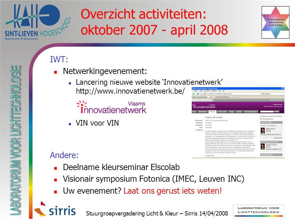 Stuurgroepvergadering Licht & Kleur – Sirris 14/04/2008 Overzicht activiteiten: oktober 2007 - april 2008  IWT: Netwerkingevenement: Lancering nieuwe