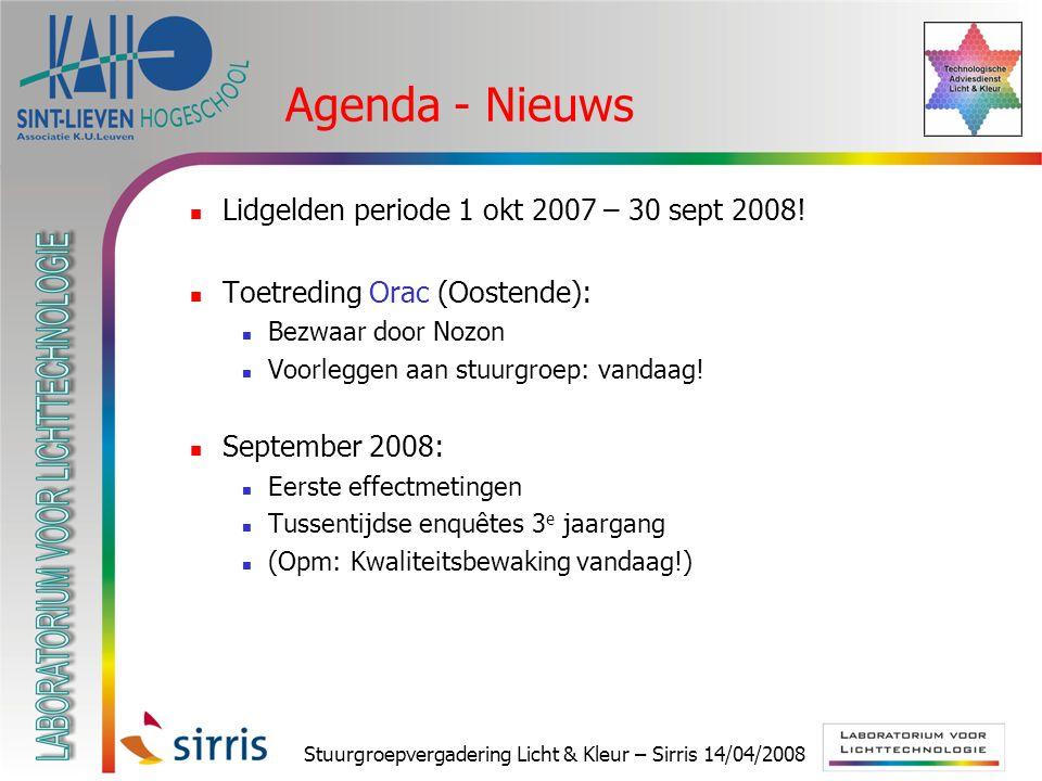 Stuurgroepvergadering Licht & Kleur – Sirris 14/04/2008 Agenda - Nieuws Lidgelden periode 1 okt 2007 – 30 sept 2008! Toetreding Orac (Oostende): Bezwa