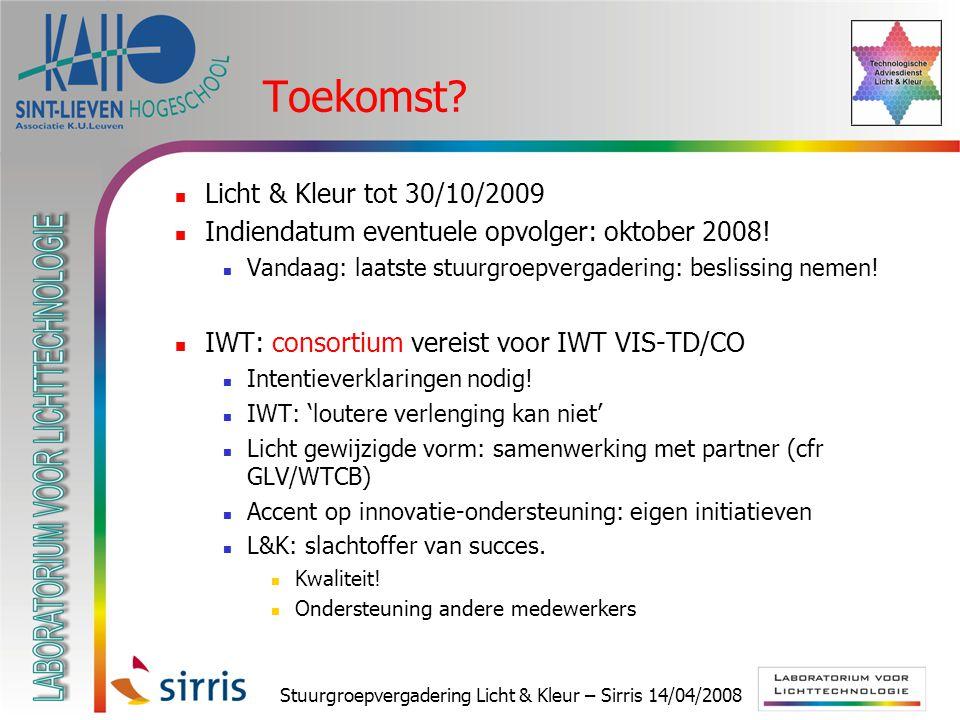 Stuurgroepvergadering Licht & Kleur – Sirris 14/04/2008 Toekomst? Licht & Kleur tot 30/10/2009 Indiendatum eventuele opvolger: oktober 2008! Vandaag: