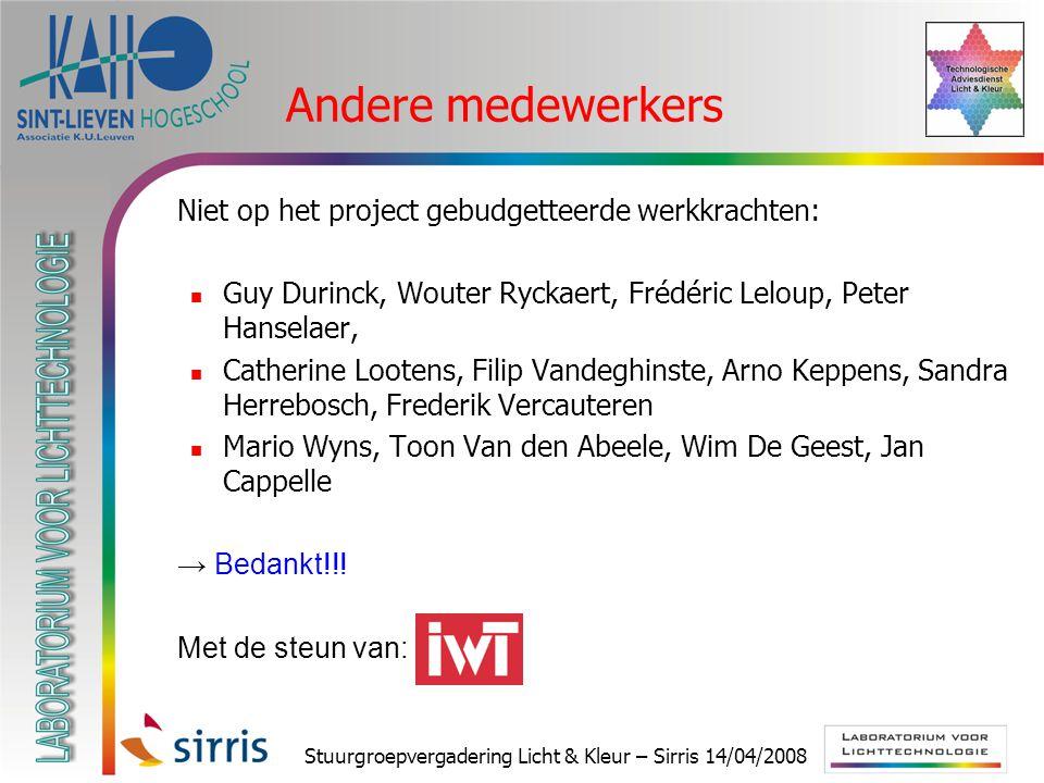 Stuurgroepvergadering Licht & Kleur – Sirris 14/04/2008 Andere medewerkers  Niet op het project gebudgetteerde werkkrachten: Guy Durinck, Wouter Ryck
