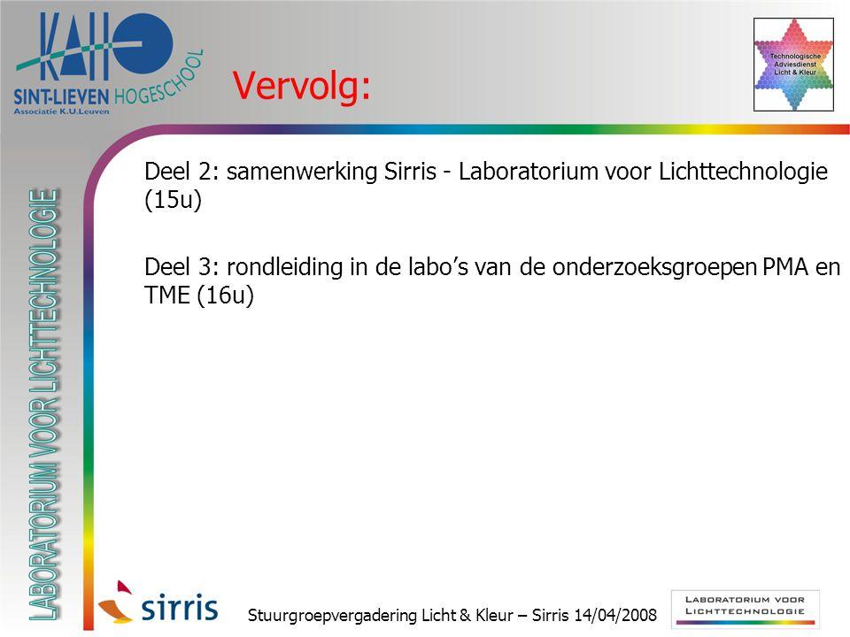 Stuurgroepvergadering Licht & Kleur – Sirris 14/04/2008 Vervolg:  Deel 2: samenwerking Sirris - Laboratorium voor Lichttechnologie (15u)  Deel 3: rondleiding in de labo's van de onderzoeksgroepen PMA en TME (16u)