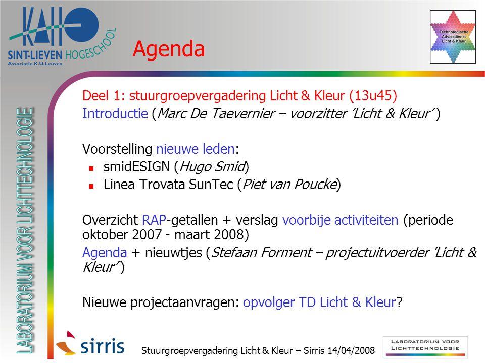 Stuurgroepvergadering Licht & Kleur – Sirris 14/04/2008 Agenda  Deel 1: stuurgroepvergadering Licht & Kleur (13u45)  Introductie (Marc De Taevernier