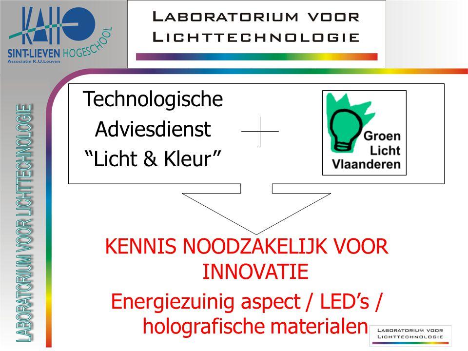 "Technologische Adviesdienst ""Licht & Kleur"" KENNIS NOODZAKELIJK VOOR INNOVATIE Energiezuinig aspect / LED's / holografische materialen"