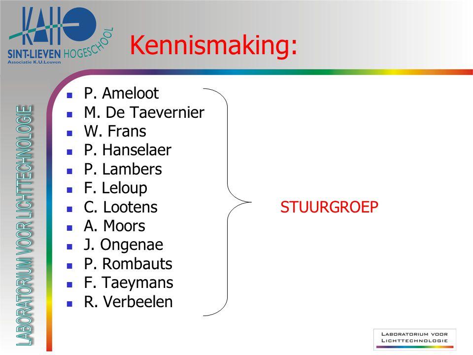 Kennismaking: P. Ameloot M. De Taevernier W. Frans P. Hanselaer P. Lambers F. Leloup C. Lootens STUURGROEP A. Moors J. Ongenae P. Rombauts F. Taeymans