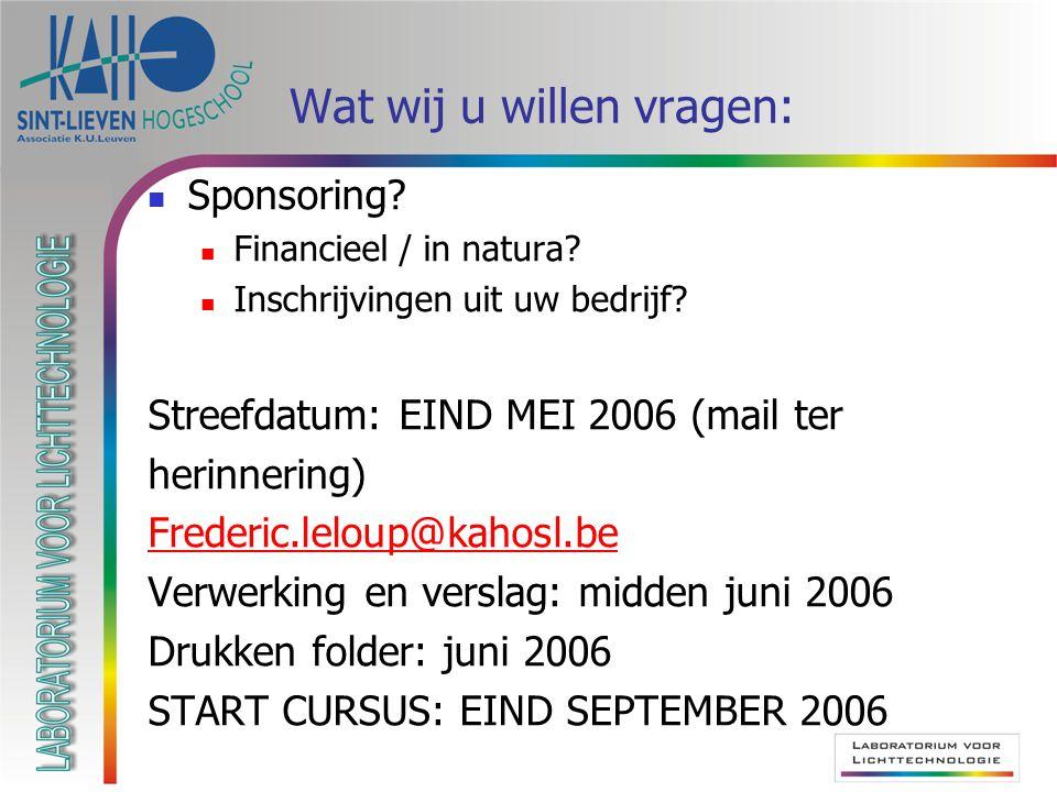 Wat wij u willen vragen: Sponsoring? Financieel / in natura? Inschrijvingen uit uw bedrijf? Streefdatum: EIND MEI 2006 (mail ter herinnering) Frederic
