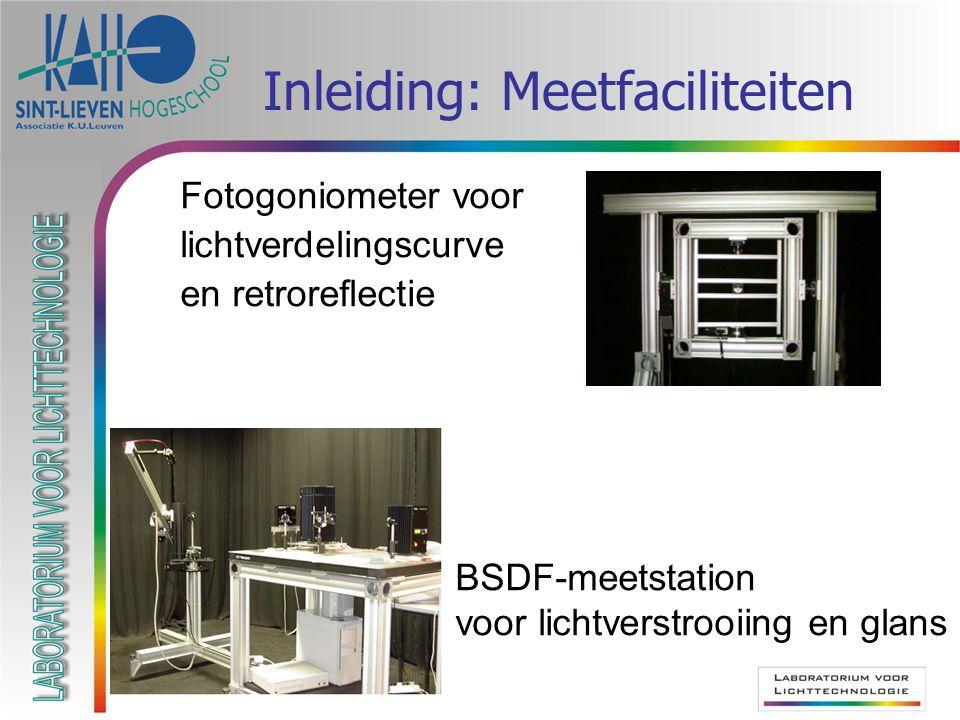 Inleiding: Meetfaciliteiten Fotogoniometer voor lichtverdelingscurve en retroreflectie BSDF-meetstation voor lichtverstrooiing en glans