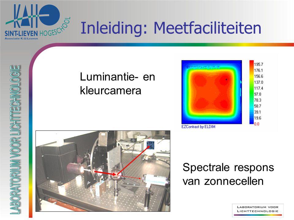 Inleiding: Meetfaciliteiten Spectrale respons van zonnecellen Luminantie- en kleurcamera