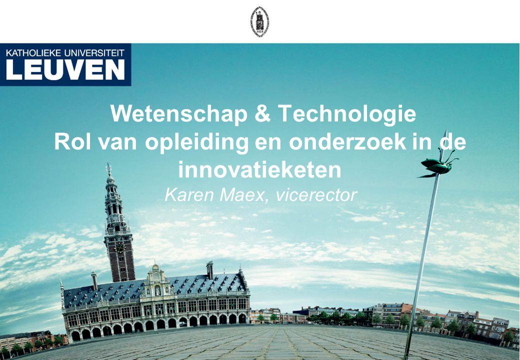 Wetenschap & Technologie Rol van opleiding en onderzoek in de innovatieketen Karen Maex, vicerector