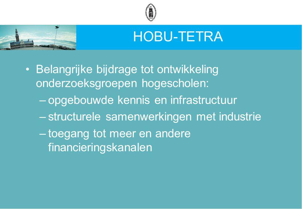 HOBU-TETRA Belangrijke bijdrage tot ontwikkeling onderzoeksgroepen hogescholen: –opgebouwde kennis en infrastructuur –structurele samenwerkingen met industrie –toegang tot meer en andere financieringskanalen