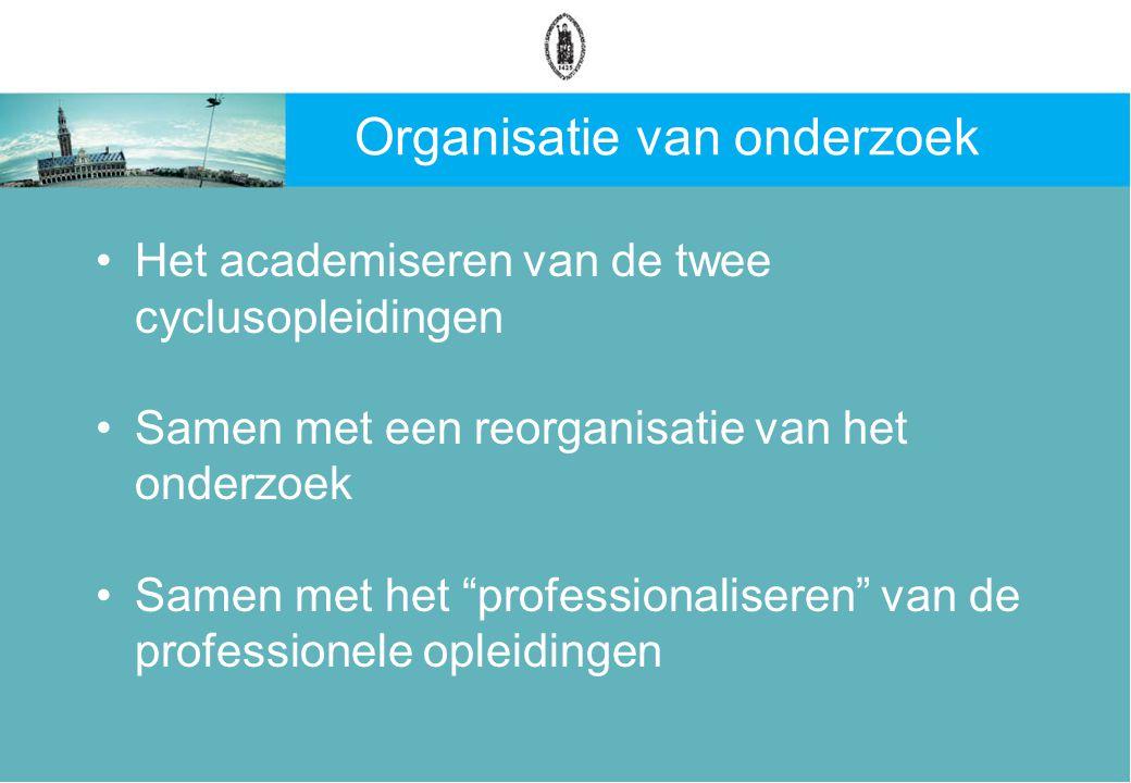 Organisatie van onderzoek Het academiseren van de twee cyclusopleidingen Samen met een reorganisatie van het onderzoek Samen met het professionaliseren van de professionele opleidingen