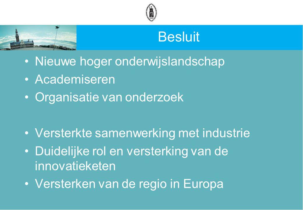 Besluit Nieuwe hoger onderwijslandschap Academiseren Organisatie van onderzoek Versterkte samenwerking met industrie Duidelijke rol en versterking van de innovatieketen Versterken van de regio in Europa