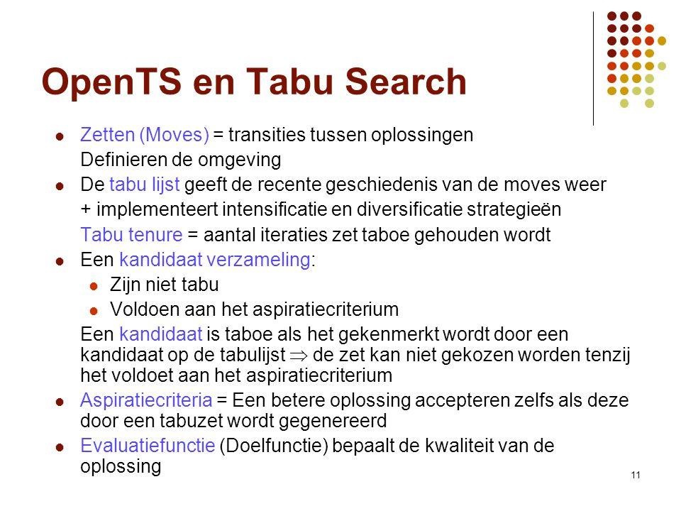 11 OpenTS en Tabu Search Zetten (Moves) = transities tussen oplossingen Definieren de omgeving De tabu lijst geeft de recente geschiedenis van de move