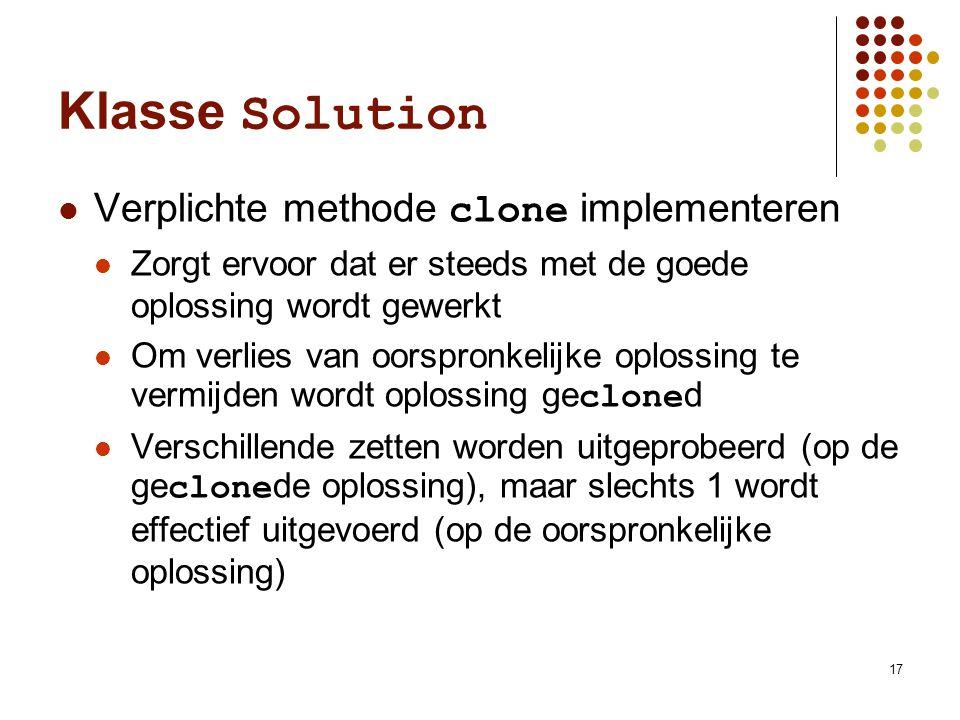 17 Klasse Solution Verplichte methode clone implementeren Zorgt ervoor dat er steeds met de goede oplossing wordt gewerkt Om verlies van oorspronkelij