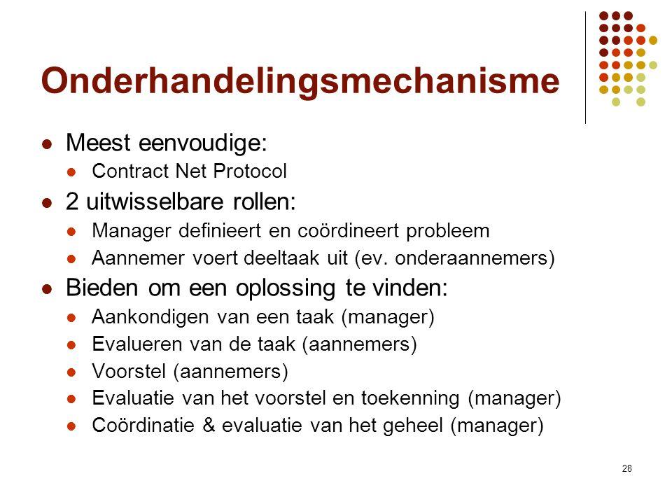 28 Onderhandelingsmechanisme Meest eenvoudige: Contract Net Protocol 2 uitwisselbare rollen: Manager definieert en coördineert probleem Aannemer voert deeltaak uit (ev.