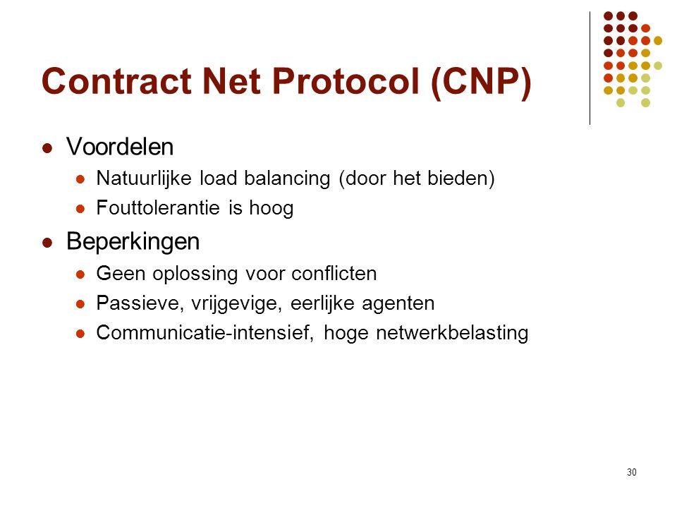 30 Contract Net Protocol (CNP) Voordelen Natuurlijke load balancing (door het bieden) Fouttolerantie is hoog Beperkingen Geen oplossing voor conflicten Passieve, vrijgevige, eerlijke agenten Communicatie-intensief, hoge netwerkbelasting