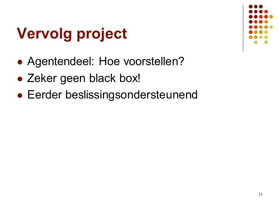 31 Vervolg project Agentendeel: Hoe voorstellen? Zeker geen black box! Eerder beslissingsondersteunend