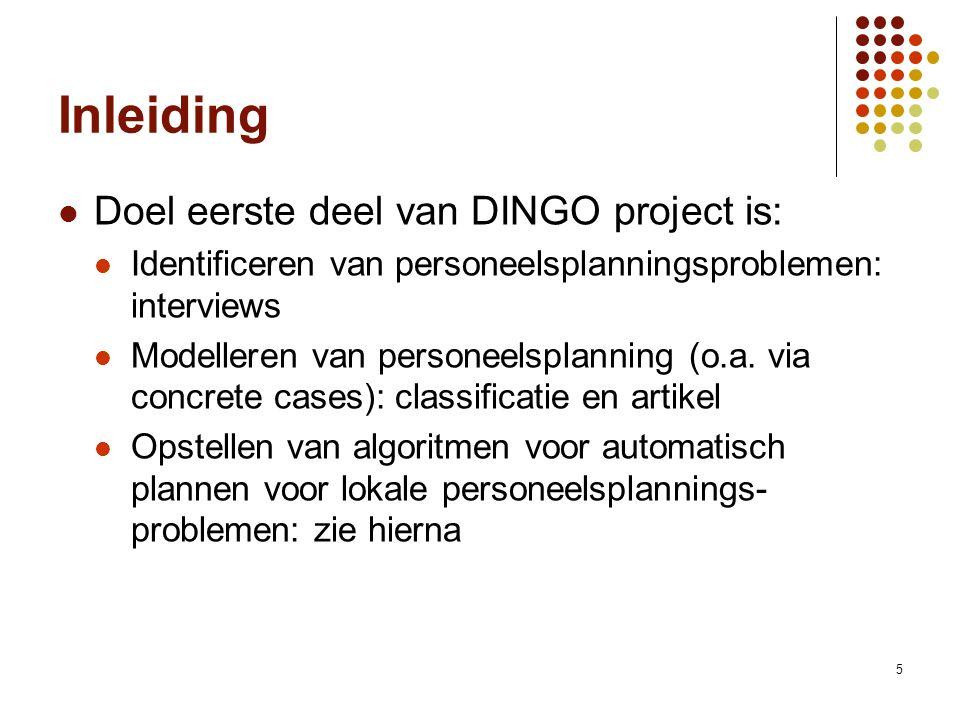 5 Inleiding Doel eerste deel van DINGO project is: Identificeren van personeelsplanningsproblemen: interviews Modelleren van personeelsplanning (o.a.